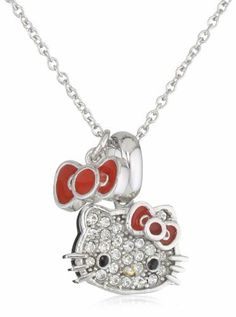 Hello Kitty by Simmons Jewelry Co. Czech Crystals Flat Pave Face and Red Bow Charm Dangle Girl's Pendant Necklace Hello Kitty. $149.99. Made in China
