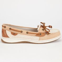 Sperry Top-Sider Angelfish Womens Boat Shoes ($88) ❤ liked on Polyvore featuring shoes, loafers, cream, slip-on shoes, lace up boat shoes, water resistant shoes, top sider shoes and traction shoes