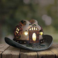 My Fairy Gardens Miniature - Solar Cowgirl Hat House