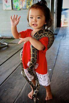 Her Pet Snake Cambodia