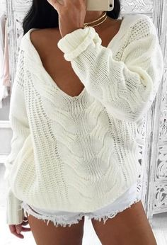 #summer #coolest #outfits | Vanilla Plunge Knit + Cut Offs