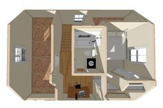 Exclusive Small Home Plan with Two Bedrooms - Small Log Home Plans, Small Cottage House Plans, 2 Bedroom House Plans, Lake House Plans, Cottage Plan, Small House Plans, Cottage Homes, House Floor Plans, Cabin Plans