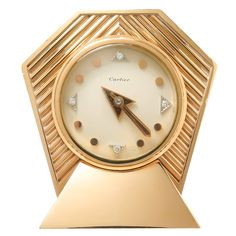 1950s Cartier Diamond Numeral Gold Clock | From a unique collection of vintage more objets d'art and vertu at https://www.1stdibs.com/jewelry/objets-dart-vertu/more-objets-dart-vertu/