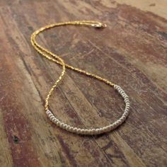 Pearl Necklace with 24K Gold Vermeil Beads Beaded by TwoFeathersNY, $150.00