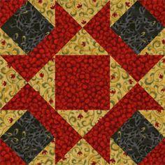 "Free Quilt Block Patterns, M through S: 6"" Ornate Star Quilt Block Pattern"