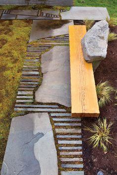 Dream Island Garden Bench DIY Garden Yard Art When growing your own lawn yard art, recycled and up c Japanese Garden Design, Flower Garden Design, Garden Landscape Design, Landscape Architecture, Landscape Materials, Landscape Designs, Small Yard Landscaping, Landscaping With Rocks, Modern Landscaping