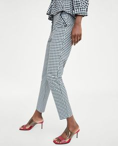 c898de4b13 Image 4 of RUFFLED CHECK PANTS from Zara Checked Trousers