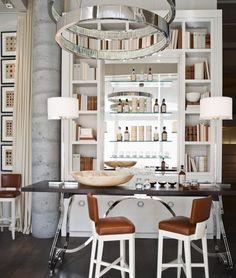 Suzie: via prettystuff.tumblr.com         Amazing office polished nickel base desk with wood top, ...