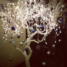 Happy Hanukkah Chanukah with this Hanukkah Bush. Just take a big tree branch, pa. Hanukkah Bush, Christmas Hanukkah, Hannukah, Happy Hanukkah, Noel Christmas, Rustic Christmas, Christmas Crafts, Christmas Ornaments, White Christmas