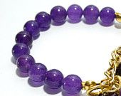 Amethyst Bracelet With Dangling Anchors
