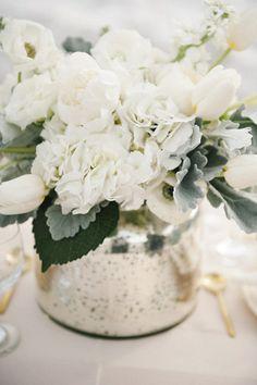 white flowers & mercury glass