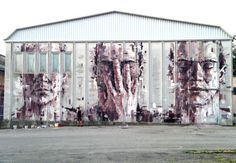 Artist: Borondo location: Italy via Street Art Save My Life. Street Art News, Street Mural, Best Street Art, Amazing Street Art, Street Art Graffiti, Street Artists, Wall Street, Awesome Art, Yarn Bombing