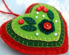 Felt Christmas heart ornaments Handmade blue by PuffinPatchwork