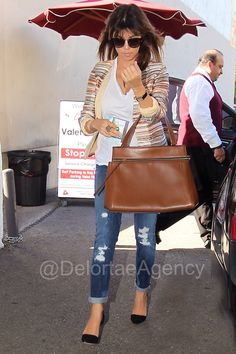 Kourtney Kardashian toting Céline brown 'Edge' Top Handle tote Kourtney Kardashian at Casa Vega Restaurant in Los Angeles, California - April 4, 2013, toting one of our fave Céline 'Edge' Top Handle toes in brown. Loving the shoes also, Jean-Michel Cazabat 'Ella'D'Orsay Point Toe Pumps, yummy. *courtesy of Delortae Agency luxury authentic handbag SPA, visit us on Facebook; www.facebook.com/DelortaeAgency