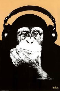 Steez (Headphone Chimp) Art Poster Print - 24x36 Poster Print by Steez , 24x36