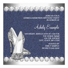 Elegant Denim And Diamonds Party Card Diamond Party Party