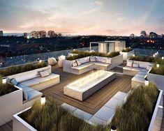 Exterior:Magnificent Modern Roof Terrace Design Ideas Plus Zen Garden Designs Combine Modern L Shape Bench On Wooden Deck Flooring Pleasant Rooftop Terrace Design with Stunning City Views