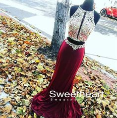 Unique two pieces sequin long prom dresses for teens, cute evening dress, modest prom dress long