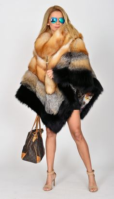 fox furs - long gold royal saga fox fur poncho                                                                                                                                                                                 More