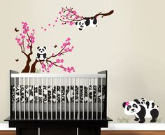 Panda Family with Blossom Branches, panda decal, baby panda, blowing blossoms Nursery Wall Vinyl. $75.00, via Etsy.