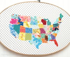 Kinda loving this!!  Large Fabric Map Hoop