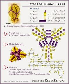easter egg - Eva Maria Keiser Designs: Search results for gyro egg Beading Patterns Free, Peyote Patterns, Beading Tutorials, Weaving Patterns, Bracelet Patterns, Seed Bead Jewelry, Seed Bead Earrings, Seed Beads, Beaded Earrings