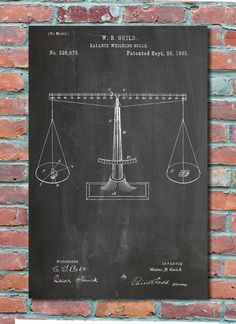 Scales of Justice Patent Wall Art Patent Print by PlexityPrints | DIY Office