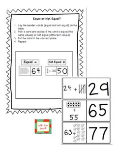 Here's a game where students look at two halves of a card and determine if the parts are equal or not equal.