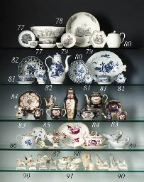 1765 A WORCESTER WHITE TEAPOT & COVER  Circa 1765  With ear-shaped handle, gadrooned spout and flower finial; together with a Derby blue and white reticulated basket printed with dahlias 5.1/8in. (13cm.) high (2) Christies lot80