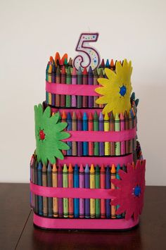 Crayon Cake Centerpiece  Kids Birthday Shower by TKelleyCollection, $44.00