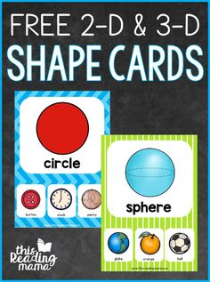 from This Reading Mama)You can find Shapes kindergarten and more on our & Shape Cards (free; from This Reading Mama) Shape Activities Kindergarten, 3d Shapes Activities, Teaching Shapes, Preschool Math, Preschool Shapes, Maths, Shapes Flashcards, Shapes Worksheets, Shape Chart