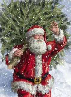 Santa art by Marcello Corti Christmas Scenes, Noel Christmas, Father Christmas, Vintage Christmas Cards, Christmas Pictures, Winter Christmas, Christmas Crafts, Christmas Mantles, Victorian Christmas
