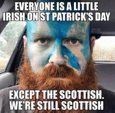 Everyone is a little Irish on St Patrick's Day. Except the Scottish. We're still Scottish. Highland Games, Glasgow, Mantra, Scottish Quotes, Irish Quotes, Scottish Insults, Scottish Tattoos, Scottish Music, Scottish Culture