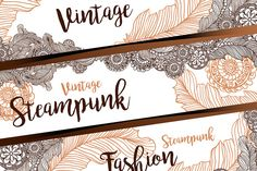 #steampunk #header #vintage #background #flyer Steampunk flyers and headers for web by ilonitta on @creativemarket