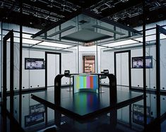 Marina Gadonneix's series 'Remote Control' documents empty television studios, off air and absent of their hosts. The constructed artificiality of these spaces becomes increasingly pronounced from one image to another. From cheesy game shows to serious news driven current affairs, all seem. Click for more images