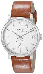 Marc by Marc Jacobs Women's MBM1265 Baker Silver-Tone Stainless Steel Watch with Brown Leather Band