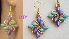 Diamond Duo Fan How to make DIY Beading Tutorial Beaded Earrings Beaded Jewelry - YouTube Beaded Jewelry Designs, Seed Bead Jewelry, Jewellery Making Materials, Diy Jewelry Making, Super Duo Beads, Earring Tutorial, Beads And Wire, Bead Earrings, Diamond