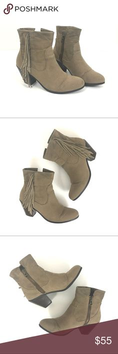Boho Taupe fringe ankle booties Boho Taupe fan fringe ankle booties. Gently used, some scuffs/marks to the suede. Genuine leather. Fringe detail outer foot. inner foot zipper. Size 8.5   🌹no trades 🌹discounts on bundles of 2+  🌹1000 items listed, take a peak!  🌹suggested user, posh compliant:) Shoes Ankle Boots & Booties