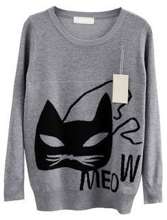 Grey Long Sleeve Cat Print Knit Sweater Vangood