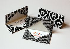 Gift or Business Card Holders: Simple origami technique using geometric wrapping paper.