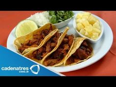 ▶ Tacos de pollo al pastor con salsa de piña y habanero / Receta de tacos - YouTube