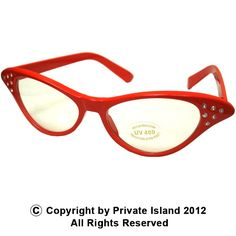 Private Island Party  - Red Rhinestone Cat Eye Glasses, $1.85- $3.99   These glasses are perfect for the person looking for a pair of glasses that will not only give them a sense of style that nobody else will have, but a pair of glasses that let the world know just how fun you really are.