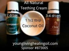 Teething can be very painful to our children, I have found this combination of Young Living Essential Oils and coconut oil to work wonders for my 2 girls. Natural pain relief and numbing properties! Essential Oils For Teething, Essential Oils For Babies, Yl Essential Oils, Yl Oils, Young Living Essential Oils, Essential Oil Blends, Baby Teething Remedies, Natural Teething Remedies, Puppy Teething