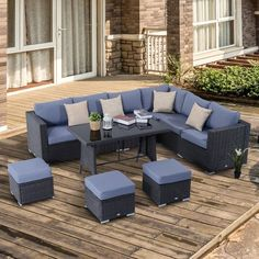 Garden Rattan Set Outdoor Wicker Conservatory Furniture w/ Cushions & Pillow. This Outsunny rattan sofa set is a great addition to any outdoor living space. It is ideal for a conservatory, patio or paved seating area. All the seating comes with seating cushions and the backrests are included with the corner and middle seats. Click to shop for yours.
