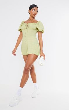 Lime Crinkle Woven Bust Elastic Hem Playsuit | PrettyLittleThing Fresh Kicks, Crinkles, Playsuits, Lime, Jumpsuit, Short Sleeve Dresses, Fashion, Overalls, Moda