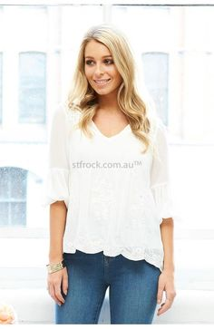 Mimi Embroidered Top in White