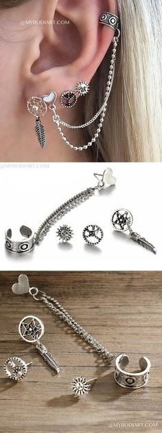 Cute Multiple Ear Piercing Ideas - Unique Cartilage Ear Cuff Boho Lobe Earring Studs -  piercing de orelha - www.MyBodiArt.com