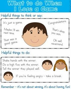 Social Skills - Losing a game - Coping with losing a game can be tricky for some children. Use this visual to discuss what to do if they lose the game before they play it.