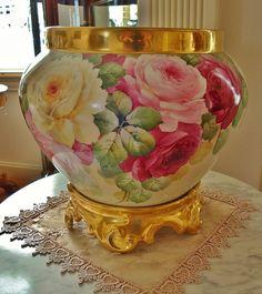 Limoges France ~Huge~ Fine Antique French Porcelain Hand Painted Jardiniere on Ornate base~ Planter ~ Urn ~ Vase~ Roses~