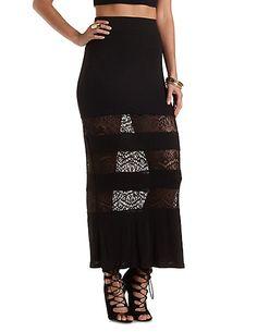 Crochet Cut-Out Maxi Skirt #charlotterusse #charlottelook